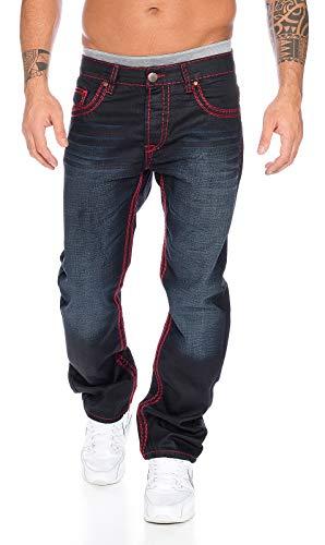 Rock Creek Herren Designer Denim Jeans Hose Dicke zier nähte NEU RC-2092, 33W / 34L, Schwarz