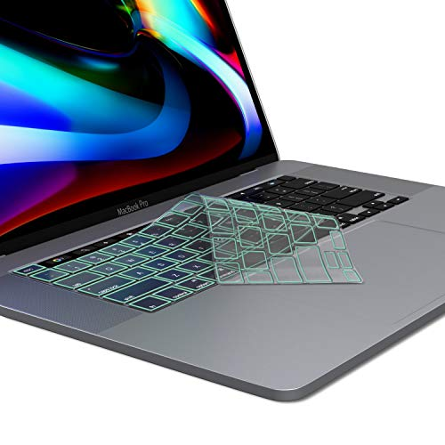 Kuzy New MacBook Pro 13 inch Keyboard Cover 2020 A2289 and MacBook Pro 16 inch Keyboard Cover 2019 A2141 Premium TPU Key Board Skin Thin Protector for MacBook Pro Keyboard Cover with Touch Bar, Mint