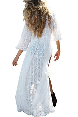 YouKD Vestido de Borla de Rebeca de Encaje para Mujer Vestidos de baño de Playa de Kimono Largo Boho Vestidos de Encubrimiento
