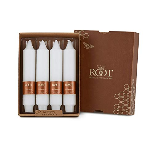 Root Candles Unscented Timberline Collenette 7-Inch Dinner Candles, 4-Count, White