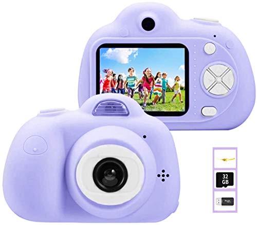 YunLone ToyZoom 1080P HD Niños Cámara Selfie Máquina fotográfica 18 MP Videocámara con tarjeta 32 GB Regalo Cumpleaños para Niños (Morado)