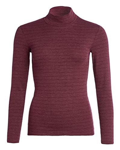Conta Thermo Langarm Shirt mit Stehkragen, geringeltes Damenshirt mit natürlicher Baumwolle, wärmeisolierende Unterwäsche, Damenbekleidung, Bordeaux Geringelt, Größe: 38/S