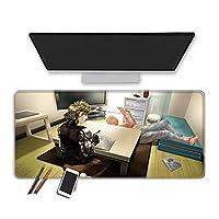 マウスパッド 80X30X0.3CMアニメワンパンチマンマウスパッド耐久性のあるステッチエッジ滑らかな表面厚いラバーベース拡張大型ゲーミングマウスパッドコンピュータキーボードマウスマットオフィスデスクマットゲーマー (C)