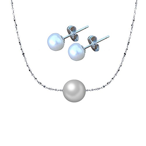 Set di gioielli per collana girocollo perla ELAINZ HEART, 42cm catena a stella scintillante S925 argento con galleggiante AAA 7-8mm perla bianca coltivata con perla rotonda e orecchini a perno