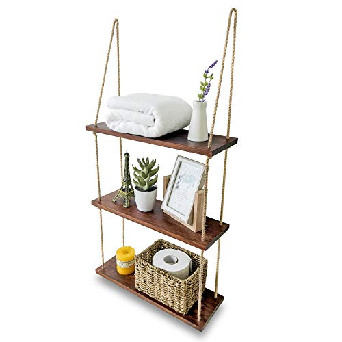 Asliny - Hanging Shelf Wall - Floating Swing Storage Shelves Jute Rope Organizer Rack, 3 Tier Handmade Shelves (Brown)