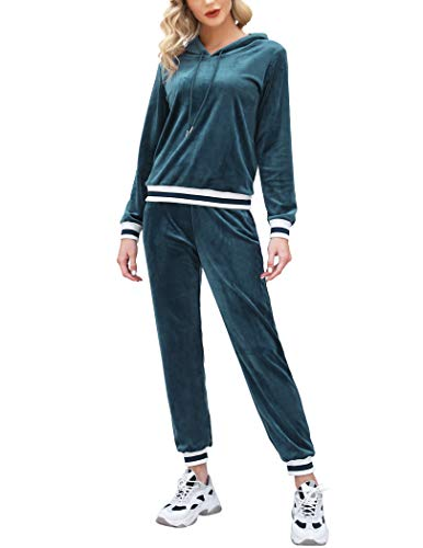 Aibrou Chandal Terciopelo Completo para Mujer,Conjunto Chándal Terciopelo Trajes de 2 Piezas Pull-over Sudadera con Capucha y Pantalones Conjunto Deporte,Pijamas Casual ( Verde , XL