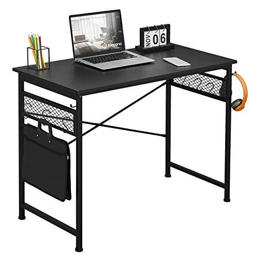 Alecono Escritorio simple para ordenador con ganchos para manualidades, escritorio de oficina en casa, color negro, 100 x 50 x 75 cm
