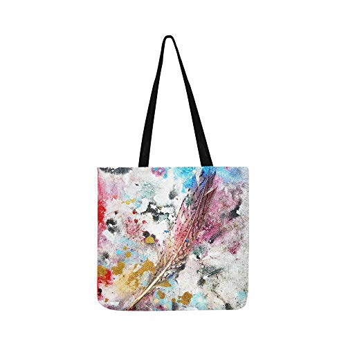 White Peacock Feather Red White Blue With A Quai Canvas Tote Handbag Shoulder Bag Crossbody Bags Purses For Men And Women Shopping Tote