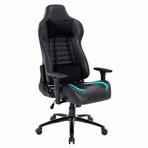 Blue Whale Massage Gaming Office Chair Metal Base and Special Wave Support High Back Reclining Racing Game Computer Desk Chair Ergonomic Leather Executive Chair with Headrest and Lumbar Pillow