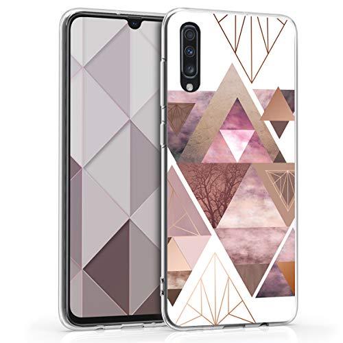 kwmobile Hülle kompatibel mit Samsung Galaxy A70 - Hülle Handy - Handyhülle Glory Dreieck Muster Rosa Rosegold Weiß