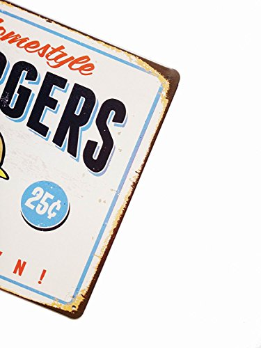 ERLOOD Best in Town Hamburgers Retro Metal Vintage Tin Signs Bar Wall Decor 12 X 8