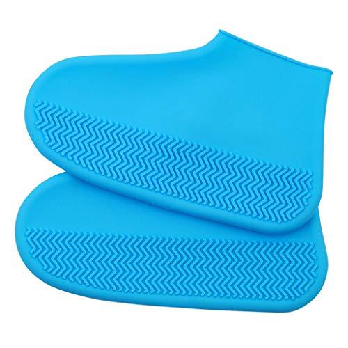 LYEC3 Wasserdichte Silikon-Überschuhe, wiederverwendbare, verdickte, wasserdichte, rutschfeste Regenschuhüberzüge, Regenstiefel-Überschuhe für Reisen für Erwachsene und Kinder(blueM)