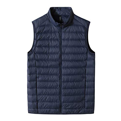 Men's Stand Collar Padded Vest Coats Full Zip Polyester Lightweight Waistcoat Jacket for Outdoor Travel