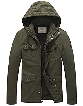 WenVen Men s Slim Fit Cotton Windbreaker Army Filed Jacket  Army Green M