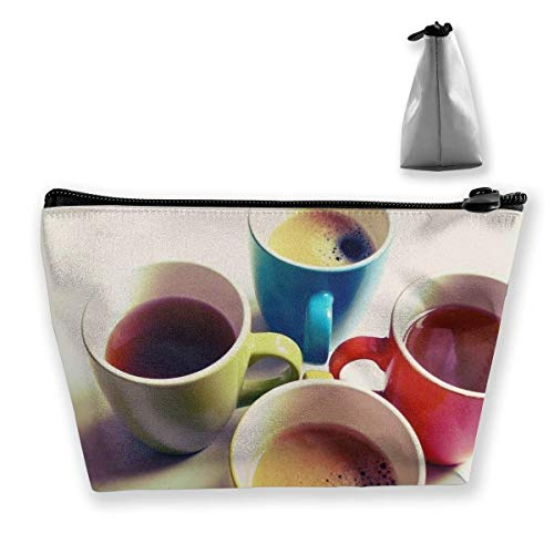 Bolsa de Maquillaje para Cuatro Tazas de café, Bolsa de Viaje de Almacenamiento Trapezoidal Grande, Bolsa de cosméticos para Lavar, portalápices, Cremallera, Impermeable