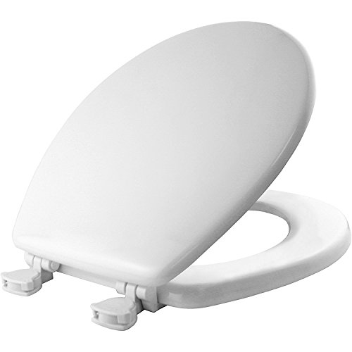 Mayfair Molded Wood Toilet Seat with Easy-Clean & Change Hinges, Round, White, 44ECA 000