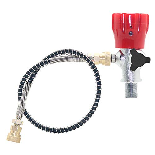 """IORMAN Paintball CO2 Tank Compressed Air DIN Valve Gauge & Fill Station, 300bar/4500psi High Pressure, 8mm Quick Disconnect Adapter, 24"""" Charging Hose for PCP Game (Red)"""