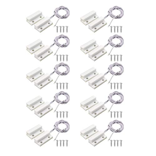 BNYZWOT MC-38 Surface Mount Wired NC Door Sensor Alarm Magnetic Reed Switch White 10 Pair