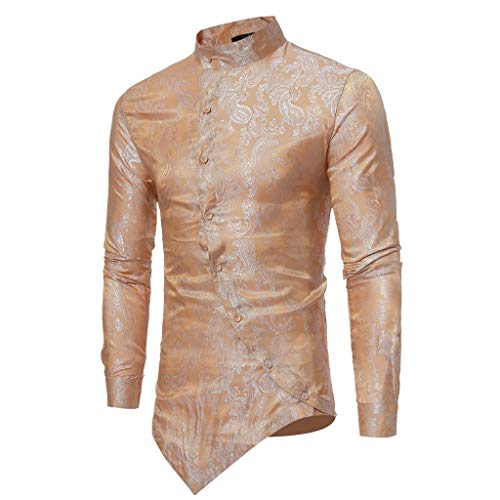 ESAILQ Männer Frühling Irraguler Slim Fit Langarm Printed Muscle T-Shirt Top Bluse(Small,Gold)