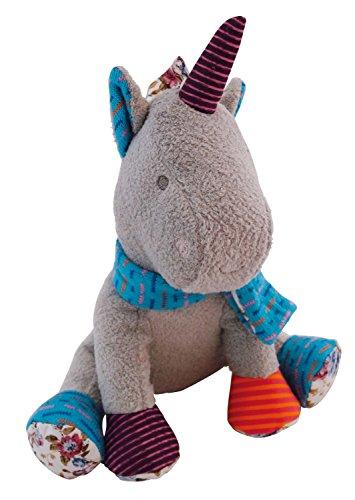 Bieco 04000343 pluche eenhoorn Alma, met blauwe sjaal en bonte hoorn, grijs/meerkleurig