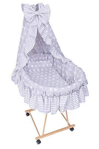 Amilian® 9tlg Textile Ausstattung für STUBENWAGEN Bollerwagen Himmel Matratze Baby Bettwäsche Pünktchen Grau