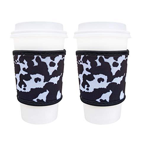 Thermobecher aus Neopren, 4 mm dick, wiederverwendbar, für heißen Kaffee und Tee von Starbucks Coffee, McDonalds, Dunkin Donuts, mehr (Kuhdruck)