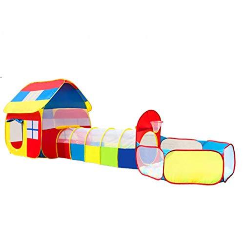 SHWYSHOP Tienda de campaña infantil 3 en 1 con agujero de túnel de gateo, piscina de pelota de juegos para interiores y exteriores + caja de almacenamiento