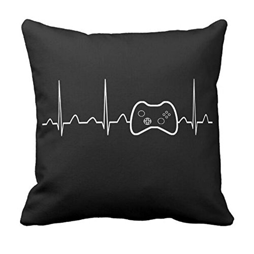 yowming Funny Play with Me Vedio Game Cushion Cover Black Novelty Gamer Heartbeat Design Throw Pillow Case Gaming Controller Room Decor