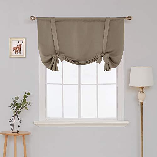 Deconovo Raffrollos Thermogardinen mit Stange Tasche Verdunkelungsgardinen Blickdicht Vorhang 175x140 cm Taupe 2er Set