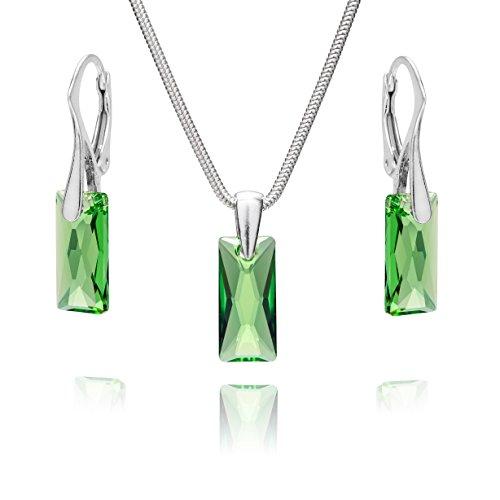 LillyMarie Damen Schmuck set Silber 925 Anhänger Swarovski Elements Grün Längen-verstellbar Schmucketui Geschenk für Frauen