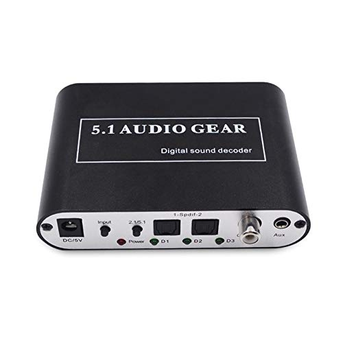 aoeyoo® 5.1 Audio Rush Digital Sound Decoder Konverter – SPDIF optisch/Koaxial Dolby AC3 DTS zu 5.1 CH Analog Audio