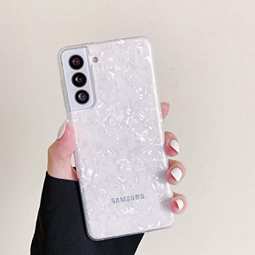 DEFBSC Für Samsung Galaxy S20 FE Hülle, Muschel Marmor Muster Design Hülle Soft Gel Silikon TPU Bumper Cover Stoßfest Anti-Scratch Schutzhülle Back Cover Hülle - Weiß