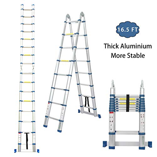 Snow Fox 16.5 Ft Telescoping Ladder, Extension Ladder, A-Frame Portable Folding Ladder Aluminium Lightweight 330lb Load Capacity with Support Bar Anti-Slip