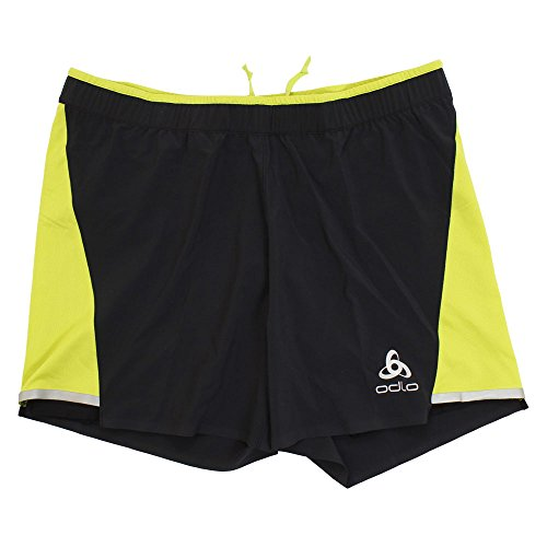 Odlo Zeroweight Ceramicool 2in1shorts Short De Sport, Multicolore (Black/Acid Lime 60087), 40 (Taille Fabricant: Small) Homme