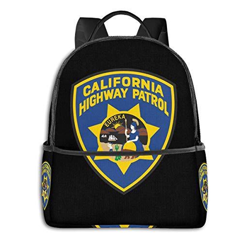 Day of Death High School Jungen Outdoor Radfahren Rucksack Mädchen Hohe Kapazität Anti-Diebstahl Rucksack Schwarz California Highway Patrol Eureka Badge Einheitsgröße