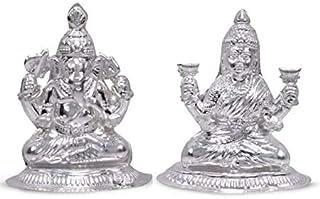 Darshraj 925 Sterling Silver Pure Ganesh Laxmi Murti Idol Combo Pack of 2