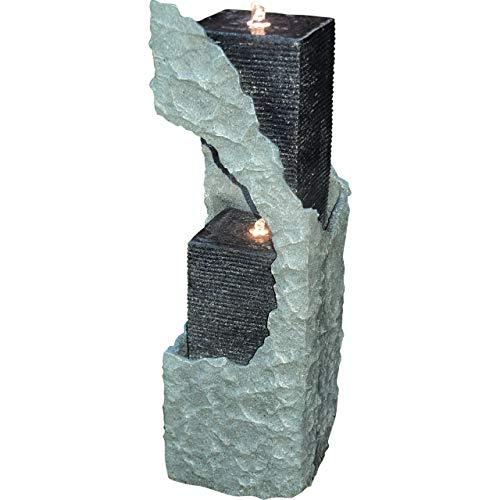 Granimex Lizu Wassersäule Wasserfall 88 x 30 x 30 cm Springbrunnen LED 399 4 Eck Säule