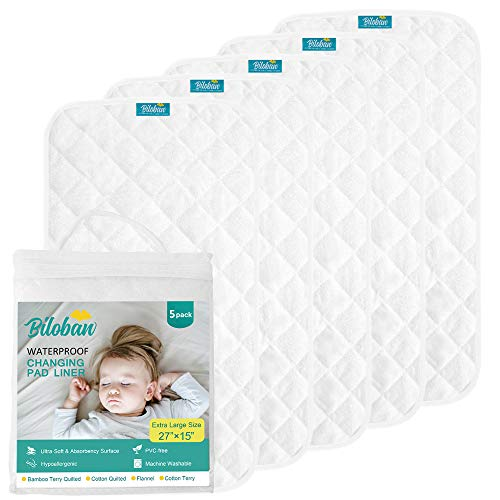 Changing Pad Liners - 5 Pack, Superior Bamboo Terry Surface, Waterproof & absorbant Diaper Changing pad Liners