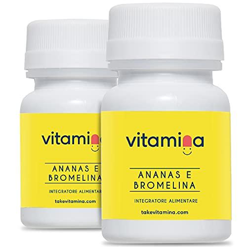 Ananas e Bromelina   Integratore anticellulite, drenante, digestivo,   Antinfiammatorio   60 compresse senza OGM, Glutine e Lattosio   Portapillole in omaggio   Vitamina   Made in Italy (2 Confezioni)