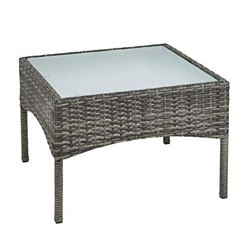 ESTEXO Polyrattan Beistelltisch Rattan Tisch Gartentisch Balkontisch Loungetisch Möbel (Anthrazit/Grau)