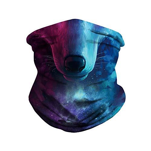 NooobTerrm 3D Unisex Multifunktionstuch Gesichtsmaske Motorradmaske Sturmmaske Maske für Motorrad Ski Snowboard Snowboard Paintball Fahrrad Bergsteigen Trekking Skateboarden Angeln(Wolf)