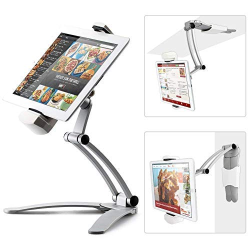 Kitchen Tablet Mount Stand iKross 2-in-1 Kitchen Wall/CounterTop Desktop Mount Recipe Holder Stand Compatible with 7 to 13 Inch Tablet fits 2017 iPad Pro 12.9/9.7 / Air/Mini, Surface Pro, Switch