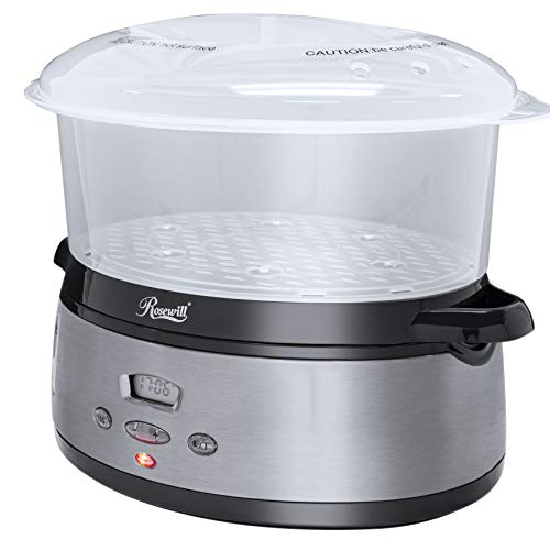Rosewill 3-Tier Digital Food Steamer | 9.5-Quart (9L), 800W | 24 Hour Cooking Delay, 90 Minute Timer |Dishwasher Safe | Cook Healthy Foods