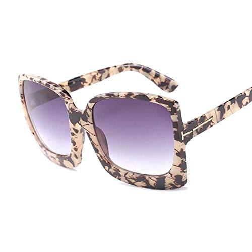 DLSM Gafas de Sol de Gran tamaño Vintage Gafas de Sol Plaza Glass de Mujer Retro Leopardo Degradado de Moda Adecuado para Deportes al Aire Libre Playa Golf-Carey