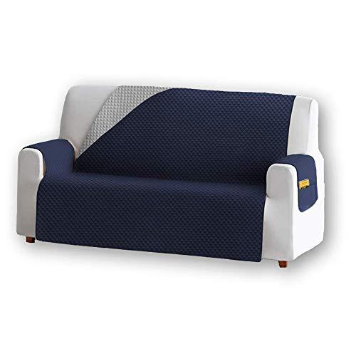 Unishop Funda de Sofa Protector de Sofá Cubre Sofá Bicolor Protector para Sofás Acolchado Reversible para Mascotas Muebles Polvo (Azul, 3 Plazas)
