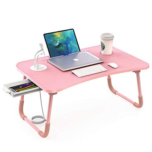 Elekin - Mesa de Ordenador portátil, Soporte para portátil, con Ranura para Tazas, para Cama, sofá, Lectura y Desayuno