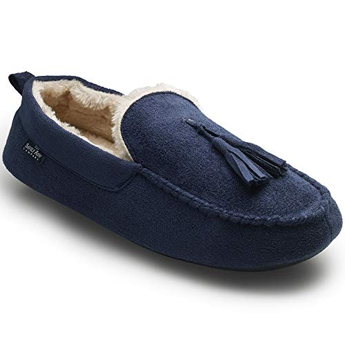 Savile Row Company Men's Navy Microsuede Moccasin Slippers 9