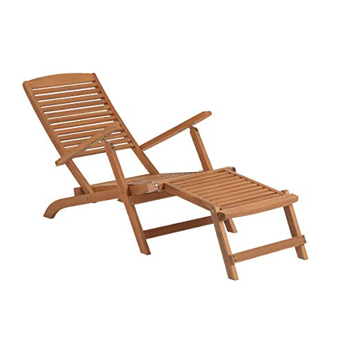 Butlers Weekender Klappbarer Liegestuhl mit Fußteil - Braune Sonnenliege aus FSC-Akazienholz - Gartenliege, Holzliege