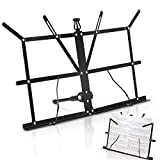 Souidmy Tabletop Music Stand, Adjustable Thick Metal Sheet Music Stand, Table Music Stand Desktop Book Tablet Stand, Folding Portable Travel Music Holder