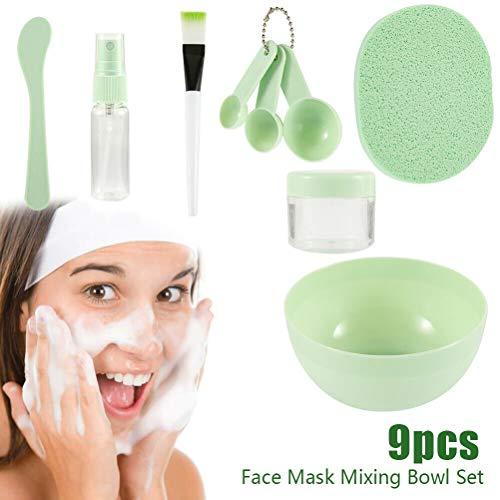 KiMiLIKE - Juego de 9 cuencos para mezclar y mezclar con cuchara, cepillo para mezclar maquillaje, belleza para el hogar, herramientas de maquillaje para mujeres